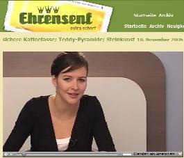Katrin presenting on ehrensenf.de